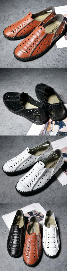 New Arrival Genuine Leather Luxury Brand Summer Men Casual Shoes High  Quality Breathable Holes Hollow Out d58b083860da