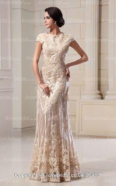 Scoop Appliqued A-line Floor Length Champagne Wedding Dress