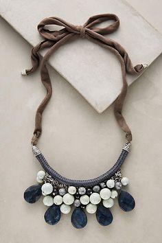 "Sensoria Bib Necklace | $58 | Glass, acrylic, cotton, plastic; Tie closure; 35""L, 2.25"" bib."