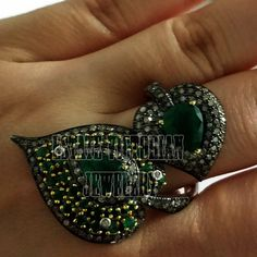 Amazing Antique Finish 3.15cts Rose Cut Diamond Emerald Silver Leaf Ring Jewelry #estateVictorianJewelery #HandMadeDiamondGemstoneLeafRing