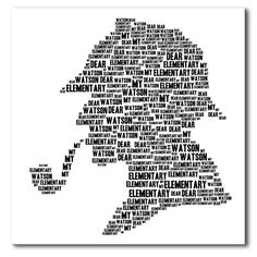 Elementary, my dear Watson - a classic silhouette Sherlock Holmes canvas print from Modern Canvas Art, box framed and ready to hang