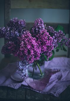 dark and moody lilacs cut in a vase. flowers give off such a powerful energy in photos like these <3