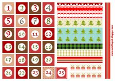 Free printable Christmas advent calendar numbers and borders - ausdruckbare Adventszahlen - freebie Advent Calenders, Diy Advent Calendar, Kids Calendar, Print Calendar, Weekly Calendar, Printable Blank Calendar, Printable Planner Stickers, Templates Printable Free, Free Printables
