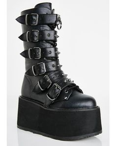 Free, fast shipping on Violation Knee High Boots at Dolls Kill, an online boutique for punk rock fashion. Shop Current Mood grunge clothing, lace up leggings, & platform shoes here. Dr Shoes, Me Too Shoes, Pretty Shoes, Cute Shoes, Mode Emo, Estilo Dark, Goth Boots, Vegan Boots, Aesthetic Shoes