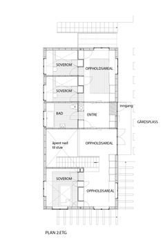 LY Arkitekter, Norway. House. Upper ground floor plan.