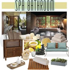 """LOVE the succulent box from above the commode. """"Spa Bathroom"""" by youaresofashion on Polyvore"""