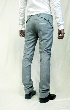 Frame It! Sweet pant design on Sruli Recht's Constricted Ash Suit Fashion Moda, Mens Fashion, Mode Man, Men Trousers, Men Pants, Fashion Details, Fashion Design, Herren Outfit, Mens Suits