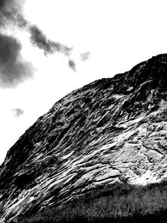 A grey-scale mountain side shot in Northern NH.