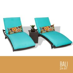 TKC Bali Chaise Lounge Chair Set of 2 Outdoor Wicker Patio Furniture With Side Table, Aruba