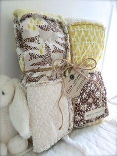 Baby Rag Quilt - Neutral - Reversible - Sweet As Honey - Shower Gift - Ready to Ship NOW on Etsy, $89.95
