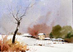 상원리의 겨울 53.0 x 40.9cm watercolor dn ppaper watercolor by Jung in sung