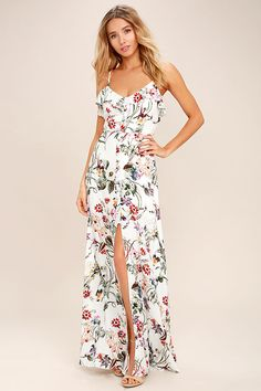 The Bloom On Ivory Floral Print Maxi Dress will make you want to run for the meadows! A woven floral print maxi dress with a button placket. Best Maxi Dresses, Floral Bridesmaid Dresses, Cute Floral Dresses, Floral Print Maxi Dress, Maxi Wrap Dress, Spring Dresses, Nice Dresses, Dress Summer, Sun Dresses