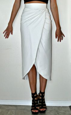DIY Knit Faux Wrap Tulip Skirt | Tasha Delrae  This but cut above the knee in yellow