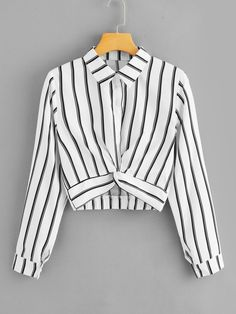 ROMWE Womens Tops and Blouses Long Sleeve Ladies Casual Crop Top Half Placket Female Shirts Summer Twist Front Striped Blouse Girls Fashion Clothes, Teen Fashion Outfits, Stylish Outfits, Trendy Fashion, Girl Fashion, Girl Outfits, Fashion Dresses, Clothes For Women, Summer Clothing