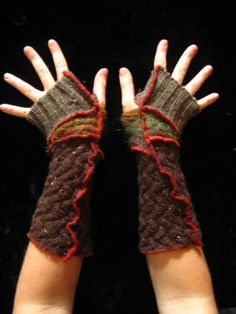 Here is a great pair of arm warmers made from bits of recycled knits. They are are lovely shades of autumny brown, with great chunky textures and bright