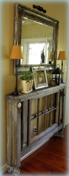 Interesting and unique hall table from reclaimed materials - links to photo only-just for inspiration- I like the width
