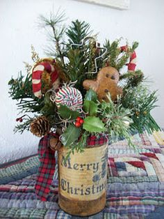 Christmas!....Paint a can. Place greenery, cookie cutters, candy canes, or ornaments in it. Add ribbon. Cute for kitchen!