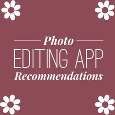 Photo Editing Apps Comment your favorites below, and read others recommendations! Maybe you'll find your new fav!! 💕💕💕 Other