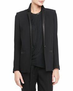 #BGSale - office essential: Helmut Lang leather-trimmed blazer.