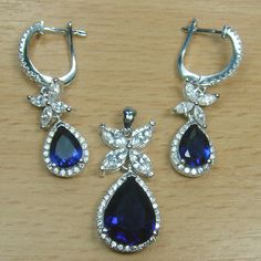 Massjewelry - Pear Cut Blue Sapphire White CZ 925 Sterling Silver Flower Jewelry Set
