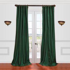 EFF Solid Faux-Silk Taffeta Window Curtain, Green Curtains 1 Panel, Silk Curtains, Window Curtains, Drapery, Window Coverings, Window Treatments, Emerald Green Curtains, Traditional Curtains, Nursery Curtains