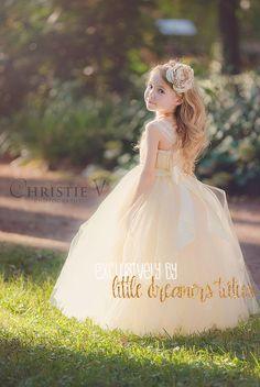 Abito Tutu Champagne fiori avorio ragazza con di littledreamersinc