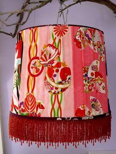 XL pendant Lampshade made with vintage Japanese kimono , collection Carolina Breuer