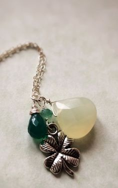 Faceted Green Chalcedony Four Leaf Clover