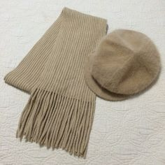 "Bundle Beige Cozy Scarf and Angora Beret Style Hat The scarf is approximately 70"" x 7"" it was maybe worn once or twice. The hat has never been worn.  ❌ I do not trade. Please do not ask. Macy's Accessories Scarves & Wraps"