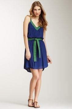 Blue & Green Belted Dress.
