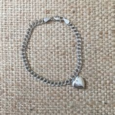 "Sterling Silver Heart Bracelet Sterling Silver heart bracelet  Stamped ""925"" and ""Italy""  A little over 8"" long  Jewelry Bracelets"