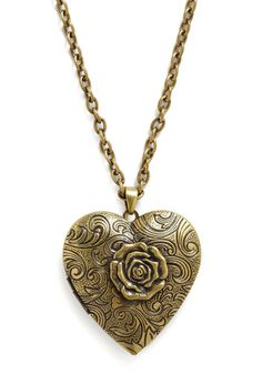 'Grow Your Love' heart locket pendant necklace w/ vintage look