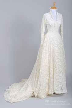 1950s Floral Lace and Silk Taffeta Wedding Gown.