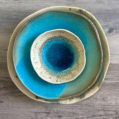 Turquoise dinnerware set ceramic Bowl ceramic by BlueDoorCeramics