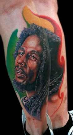Bob Marley by Cecil Porter - Done with Fusion Ink, The Dragonfly Tattoo Machine and needles from The Glove for the Artist. Celebrity Tattoos Male, Rasta Tattoo, Bob Marley Legend, Rasta Art, Nesta Marley, Fusion Ink, Tattoos Gallery, Color Tattoo, Tattoos