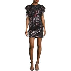 Design Lab Lord & Taylor Women's Sequined Floral Dress ($20) ❤ liked on Polyvore featuring dresses, black, floral ruffle dress, j.crew cocktail dresses, ruffle dress, sleeved dresses and floral printed dress
