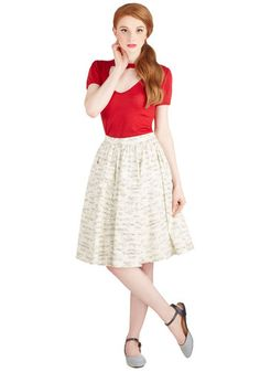 On a Barrel Roll Skirt in Fanfare. Recounting the twists and turns of your most recent air show performance is even more exhilarating when youre dressed in this skirt from Bea  Dot! #white #modcloth