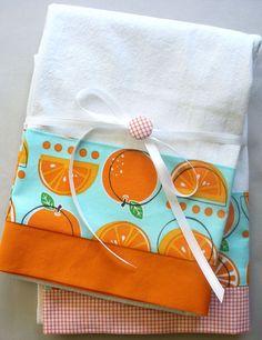 Orange and aqua. Aqua Background, Orange Kitchen, Bright Kitchens, Orange Fruit, Flour Sack Towels, Great Housewarming Gifts, Vintage Kitchen Decor, Fabric Covered Button, Kitchen Towels