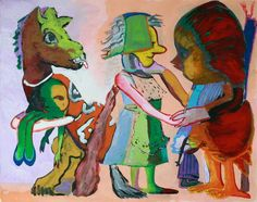Chicken Persuading Woman by Paula Rego Painting Collage, Painting & Drawing, Your Paintings, Beautiful Paintings, Unusual Art, Midsummer Nights Dream, Art Uk, Life Drawing, Contemporary Paintings