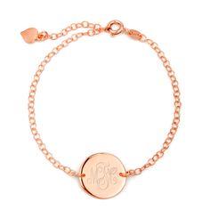Custom Rose Gold Monogram Bracelet from Eves Addiction. Custom engravable monogram disc bracelet, ships quickly! Shop rose gold monogram bracelets online.