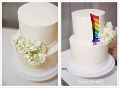 Or have a cake that only reveals its true colours later on. | 23 Super Cute Lesbian Wedding Ideas