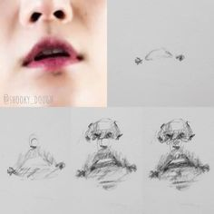 Art reference realistic & art reference p. Drawing Techniques, Drawing Tips, Drawing Reference, Mouth Drawing, Nose Drawing, Kpop Drawings, Art Drawings Sketches, Kritzelei Tattoo, Drawing Practice