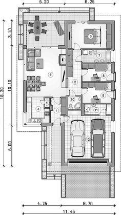 Parterowy dom z zadaszonym tarasem i garażem - Studio Atrium Dream House Plans, Modern House Plans, Small House Plans, House Floor Plans, Minimalist House Design, Minimalist Home, Atrium, Casas Magnolia, Building Design
