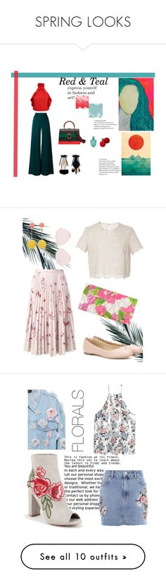 """""""SPRING LOOKS"""" by glady-dea ❤ liked on Polyvore featuring Plein Sud, Alice + Olivia, Gucci, Nine West, red, teal, art, RED Valentino, Chloé and Costarellos"""