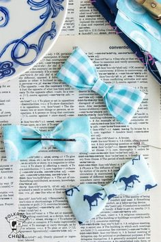 This free sewing pattern will teach you how to make these adorable DIY bow tie hair clips and bracelets. Use up you old fabric scraps to learn how to make your daughter a collection of adorable hair accessories. She'll have one to match every outfit!