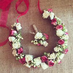Çiçekli Gelin Tacı ve Damat Yaka Çiçeği MA18