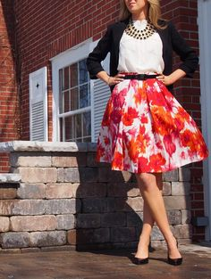 Fun Office Attire --- Who says office-wear has to be boring? A full, floral skirt with a neutral top is a great way to put some personality in your look. Add a fun accessory and a sweater or blazer for a professional and pretty outfit.