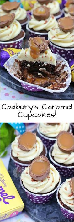Cadbury's Caramel Cupcakes!! ❤️ Chocolate Cupcakes with a Cadbury's Caramel Egg Centre, Caramel Buttercream Frosting, and even more Cadburys Caramel!