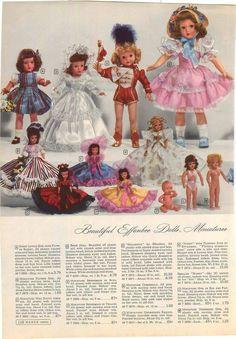 1950 ADVERT 3 PG Effanbee Honey Flirting Eyes Bride Cowboy Doll Horsman Baby