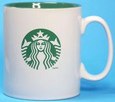 Starbucks Coffee Mug Cup Mermaid Logo Green Inside Oversized #Starbucks